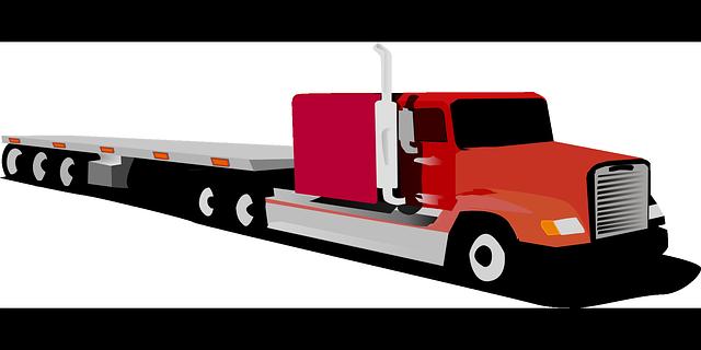 červený kamion, dlouhý návěs