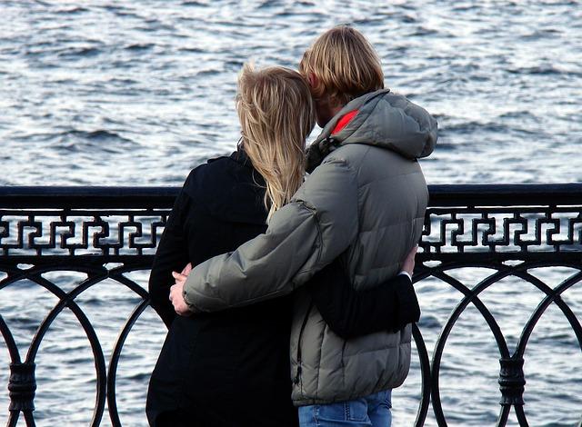 dvojice, zima, moře