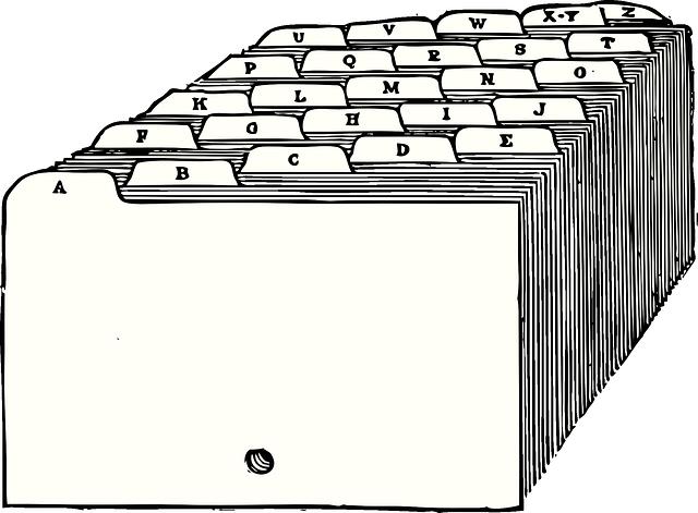 abeceda, záložky do kartotéky