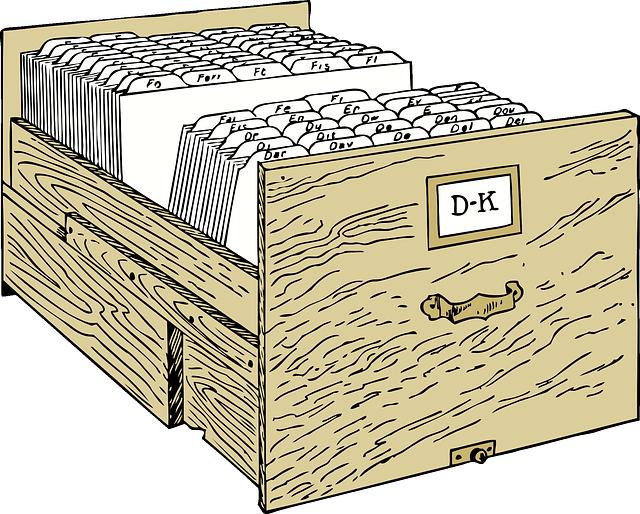dřevěný šuplík kartotéky