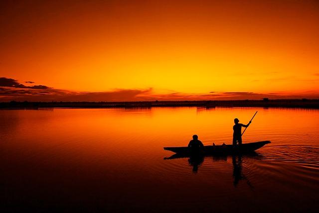 loďka, lidi, západ slunce, jezero