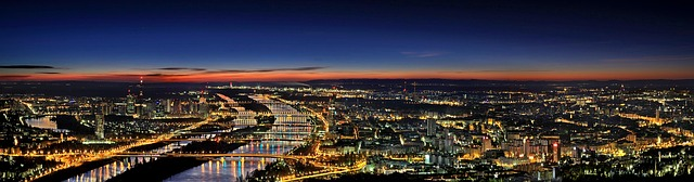 noční panorama Vídně